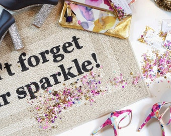 Don't Forget Your Sparkle! Decorative Door Mat, Doormat, Welcome Mat // Hand Painted 20x34 by Be There in Five