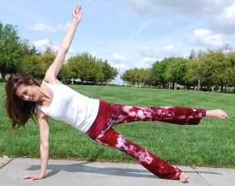 "Merlot Burgundy Tie Dye Yoga Pants 32"" inseam Including Plus Sizes"