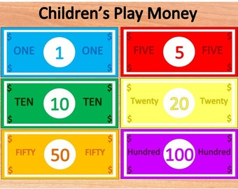 Printable Children's Play Money~Pretend Money~Toy Money~Fake Currency~Learning Tools~Kids Banking~Chore Money~Instant Download