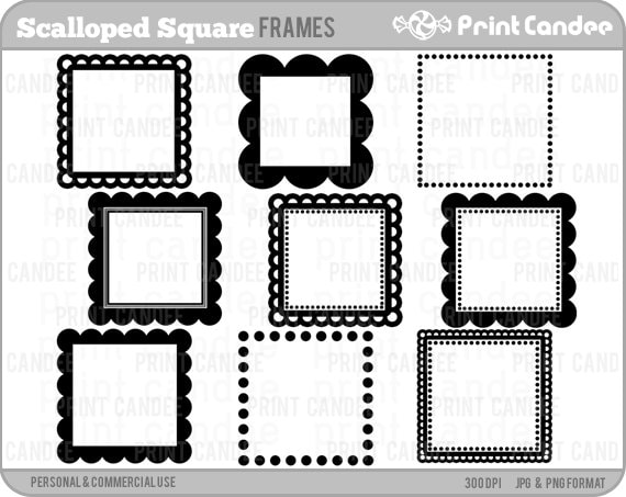 70 OFF SALE Scalloped Square Frames Personal And