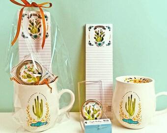 Cactus Mug Gift Basket, Cactus Mug, Cactus Gift Basket, Cactus Ceramic Mug Gift Set, Cactus Gift Set, Cactus Gift Basket