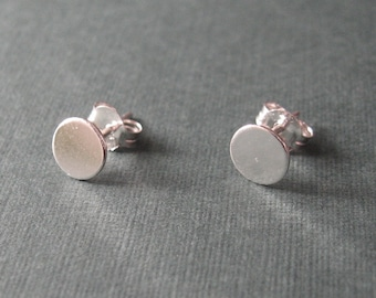 Micro sterling studs - mini silver disc post earrings