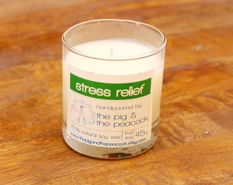 Soy Wax Candle - Stress Relief Pure Soy Wax Candle - 7.5 oz
