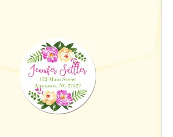 Personalized Address Labels / Pink Yellow Flowers / Custom Labels / Envelope Seals / Summer Floral / Favor Labels / Thank You Labels