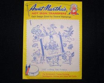 Aunt Martha's hot iron transfer 3765 --Frog Tea Towels