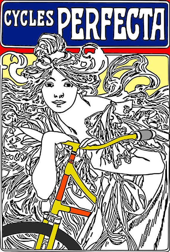 Anti Stress Art Nouveau Digis Printable Coloring