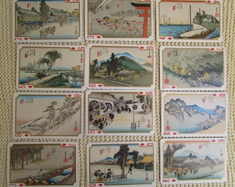 HIROSHIGE Playing Cards 52 Scenes, Japanese playing cards,  reproductions of woodprint cards, Japanese playing cards, art supplies