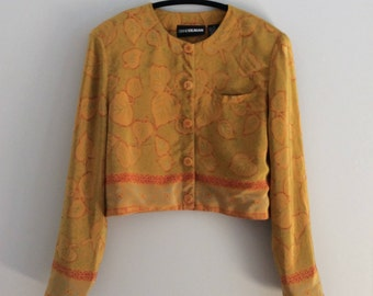 Vintage 90's Boxy Cropped Silk Jacket Mustard Yellow Fall Leaves Print by Diane Gilman Size Medium