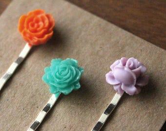 Silver Bobby Pins - Flowers - Orange, Teal, Purple