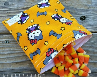 Halloween Vampire Kitty - Medium Reusable Sandwich/Snack Bag from green by mamamade