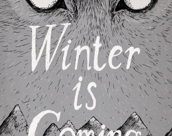 Winter Is Coming- Game of Thrones-inspired House Stark A4 art print- direwolf- FREE WORLDWIDE SHIPPING- approx 8x12 inches