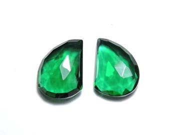 2 Pieces Beautiful Emerald Green Quartz Faceted Fancy Shaped Loose Gemstone Size 16X13 MM