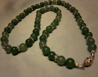 Green Jade Necklace with silver and crystal spacer beads
