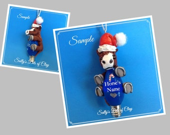 Red with White Santa Horse Christmas Holidays Light Bulb Ornament Sally's Bits of Clay PERSONALIZED FREE with name