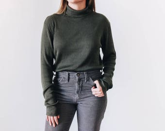 80s Silk Olive Green Turtleneck, Women's Small Turtleneck, Soft Green Pullover