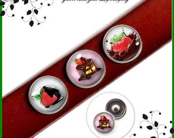 Push button Set 3 pieces 18 mm glass cabochon strawberry with chocolate CABOCHONKNÖPFE SKS-018-007