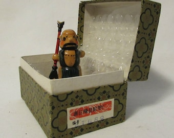 Pencil Sharpener, Chinese Warrior, Wood, hand Painted, Original Gift Box, 1980's