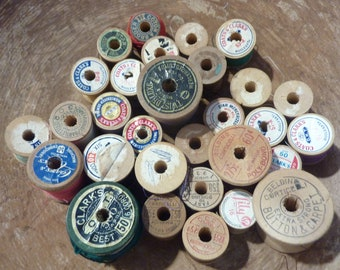30 Vintage Wood Thread Spools Wooden Sewing Craft Supply Lot (#1486)