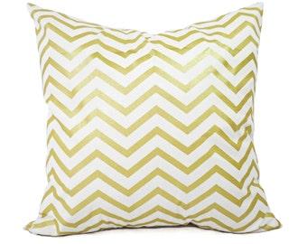 Two Metallic Gold Pillow Covers - Metallic Pillows - Metallic Gold Pillow Sham - Holiday Pillows - Chevron Pillows - Holiday Decor