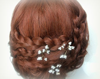 Gypsophilia Wedding Hair Pins, Pearl Hair Pins, X 3 Hair Pin Set, Bridal Hair Pins, Wedding Hair Accessory