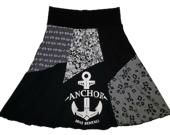 Nautical Women's XS Small Upcycled T-Shirt Skirt Repurposed Hippie Skirt Size 0 2 4 recycled athleisure t-shirt Twinkle Skirts Twinklewear