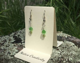 Bright Green and Small Olive Colored Crystal Earrings