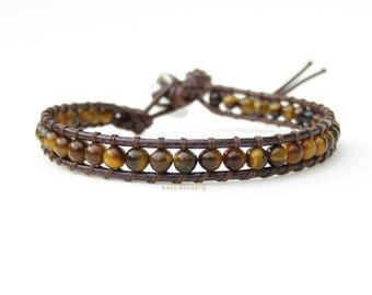 Tiger eye stone single wrap bracelet on brown polyester cord, beaded wrap bracelet