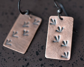 Copper Bird Track Earrings