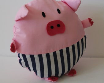 Pink Pig Cushion With Breaches
