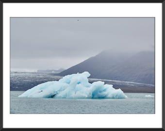 Glacier Lagoon - Iceberg - Blue Ice - Land of Fire and Ice - Iceland - Jökulsárlón - Color Photo Print - Fine Art Photography (IC08)