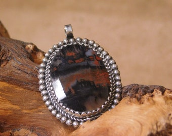 Sterling Silver Petrified Wood Pendant