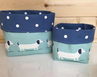 Dachshund Fabric basket blue sausage dog organiser handmade fabric basket