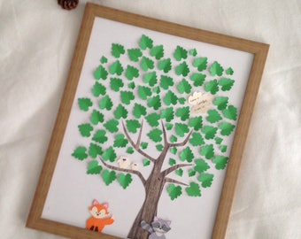 Pretty signatures tree - baptism - animals themed book of the forest