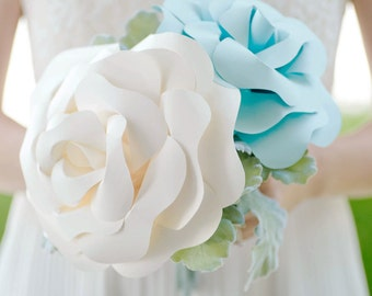 Custom Paper Flower Bouquet - Big Paper Rose Bouquet, Paper Bouquet, Bridesmaids Bouquet, Wedding Bouquet - 12 inch