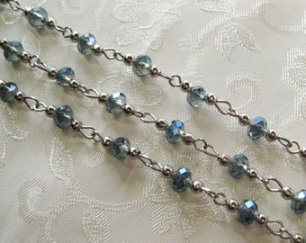"One Meter 39.5"" Faceted Blue Metallic AB Rondelle Glass Crystal 6mm Beaded Rosary Chain Antique Silver 978-03"