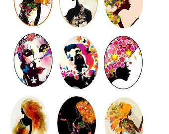 "18x25mm, set of 9 various ""women"" cabochons"