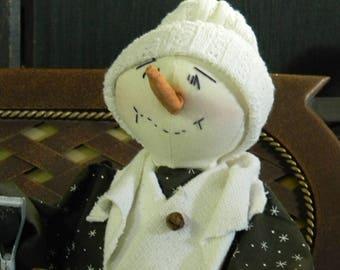 """Primitive Snowman with Shovel """"Larry"""" - Primitive Folk Art Snowman Larry - Prim Yule Snowman"""