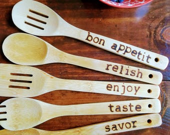 Wood Spoons with Words