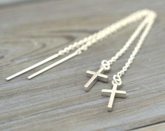 Tiny Cross threaders, Threader Earrings, Ear thread dangles, Pull-through earring, Cross dangles, Solid 925 silver, Chain thread earrings