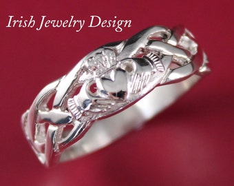 Claddagh ring, Mens silver Claddagh , with celtic rope band