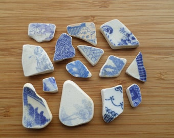 14 Shards of English Beach/Sea Pottery from the Northumberland Coast, Beach Finds, Ceramic, Shards, Beach Pottery Shards, English