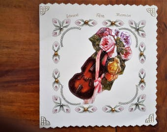 Violin and flowers for MOM - made 3D handmade card