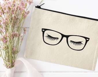 Canvas Makeup Bag - Make Up Pouch - Canvas pouch - Cosmetic pouch, Cosmetic Bag, Makeup Organizer, Glasses & Eyelashes, Hipster Makeup Bag