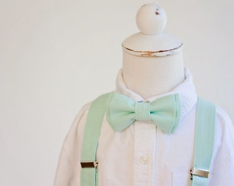 Boy's Mint Bow Tie and Suspender Set, 36 Shades Available, Baby Bow Tie, Baby Suspenders, Bowties, Toddler Bow Ties, Boy's Bow Ties