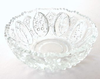 Cut Glass Bowl, Small Clear Glass Dessert / Berry Bowl
