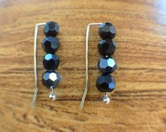 Black Ear Climber, Black Earrings, Boho Earrings, Electro Plated Stones, Sterling Silver Earrings