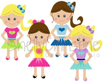 Little Girl School Girl Clip art Cute Kids Clipart Set of 4 High Resolution PNG graphic files Instant download
