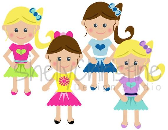 little girl school girl clip art cute kids clipart set of 4 rh etsy com school going girl clipart school girl clipart black and white