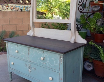 Shabby Chic Dresser,Dresser with Mirror, Distressed Painted Wood Dresser,Wood Vanity, Low Dresser with Mirror, Blue Dresser PICK UP ONLY