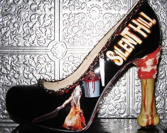 silent hill horror gore bloody  heels with bones blood and knives